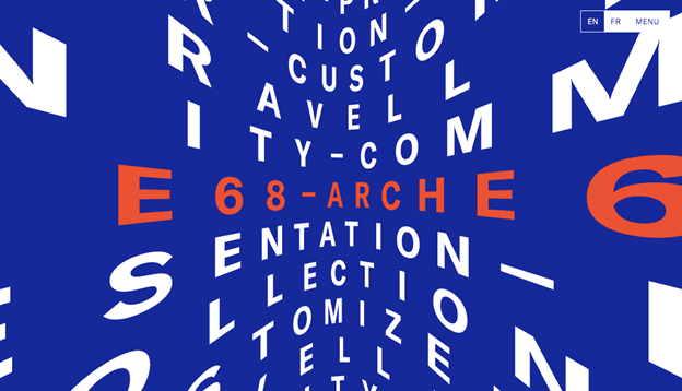 The website design of ARCHE68 is all about pushing the typography to a two-dimensional limit, making it near three-dimensional