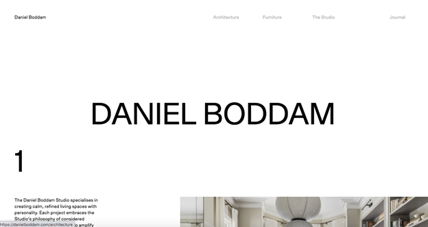 The website design of Daniel Boddam consists of a lot of extra white space in the heading area