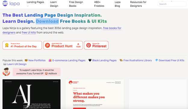 Lapa is considered to be the best landing page design inspiration as the headline reads on the homepage